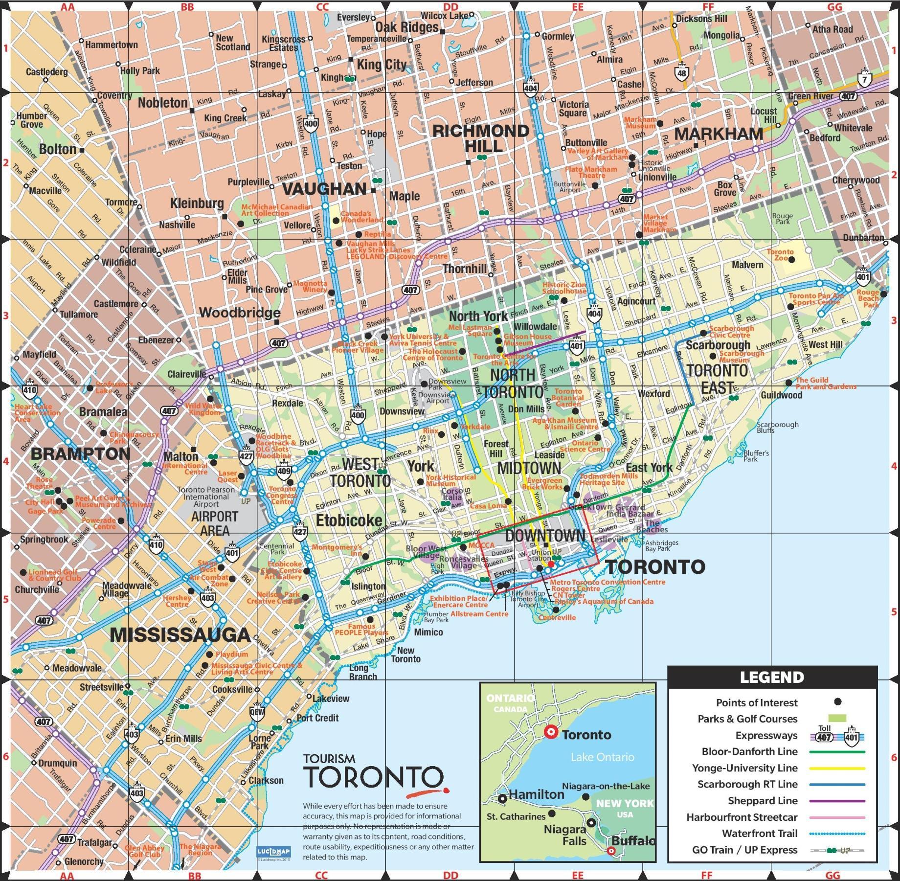 Toronto Mapa Mapa De La Ciudad De Toronto Canadá - Canada mapa